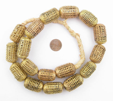 Caged Cylinder Brass Filigree Beads (20mm) - The Bead Chest