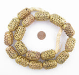 Nested Cylinder Brass Filigree Beads (32x20mm)