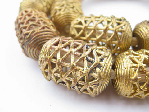 Nested Cylinder Brass Filigree Beads (30x20mm) - The Bead Chest