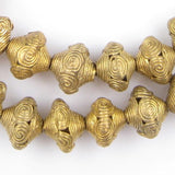 Rounded Bicone Brass Filigree Beads (15x18mm)