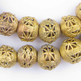 Round Star Brass Filigree Beads (20mm)