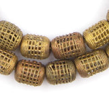 Caged Barrel Brass Filigree Beads (19x15mm)