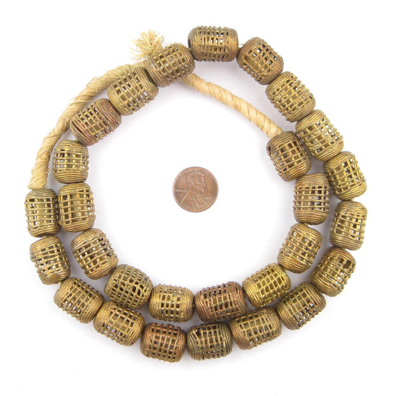 Caged Barrel Brass Filigree Beads (19x15mm) - The Bead Chest