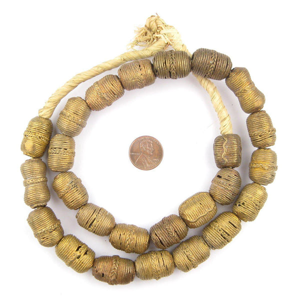 Wound Barrel Brass Filigree Beads (21x15mm)