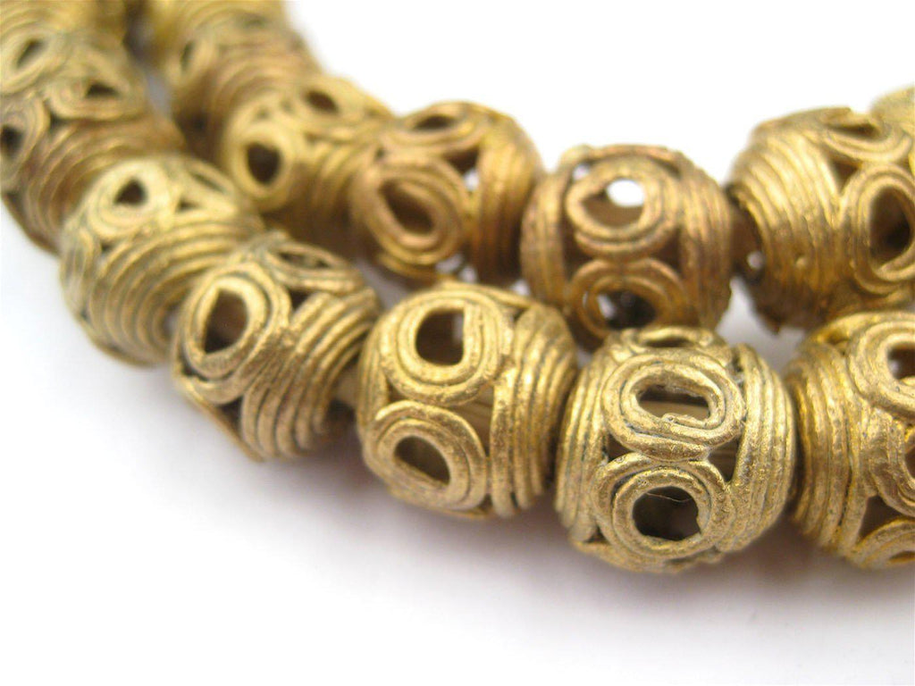 Round Eye Brass Filigree Beads (14mm) - The Bead Chest