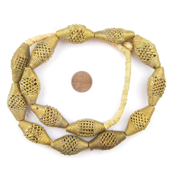 Weaved Flat Bicone Brass Filigree Beads (34x18mm)