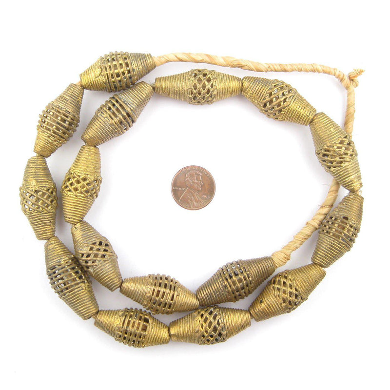Weaved Bicone Brass Filigree Beads (34x15mm) - The Bead Chest