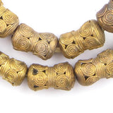 Cameroon-Style Hourglass Brass Filigree Beads (23x15mm)