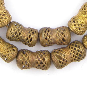 Weaved Hourglass Brass Filigree Beads (25x14mm) - The Bead Chest