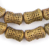 Caged Hourglass Brass Filigree Beads (24x15mm)
