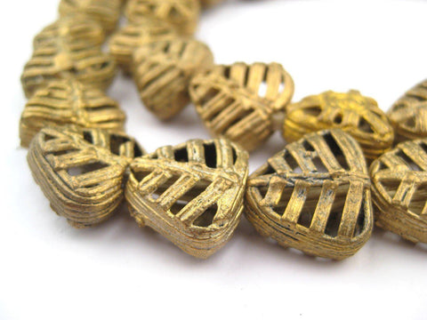 Mini-Triangle Leaf Brass Filigree Beads (8x17mm) - The Bead Chest