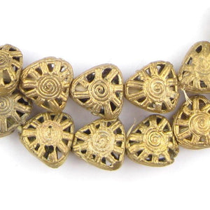 Mini-Triangle Sun Brass Filigree Beads (16x18mm) - The Bead Chest