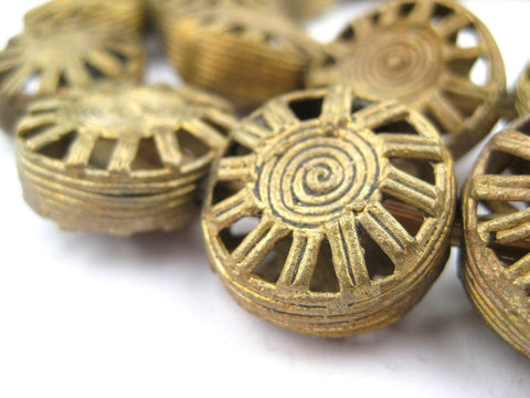 Circular Sun Brass Filigree Beads (10x22mm) - The Bead Chest