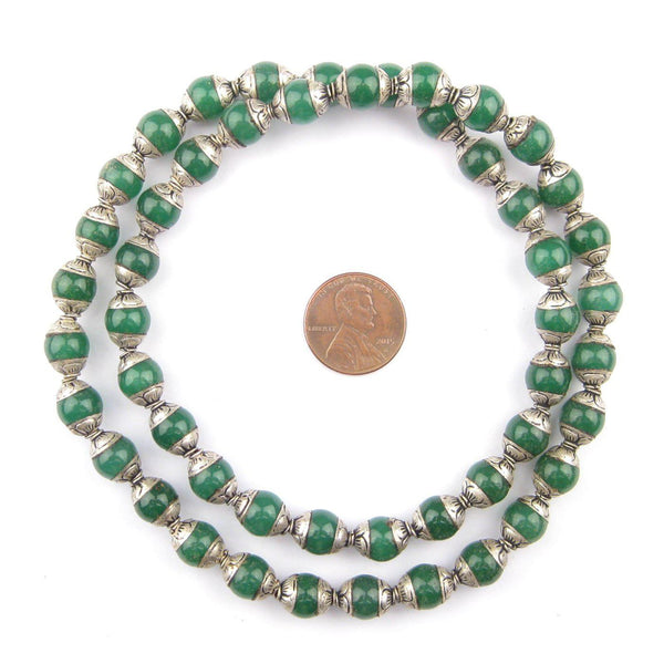 Jade Nepali Silver Capped Beads