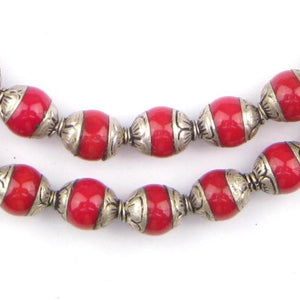 Coral Nepali Silver Capped Beads - The Bead Chest