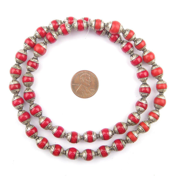 Coral Nepali Silver Capped Beads