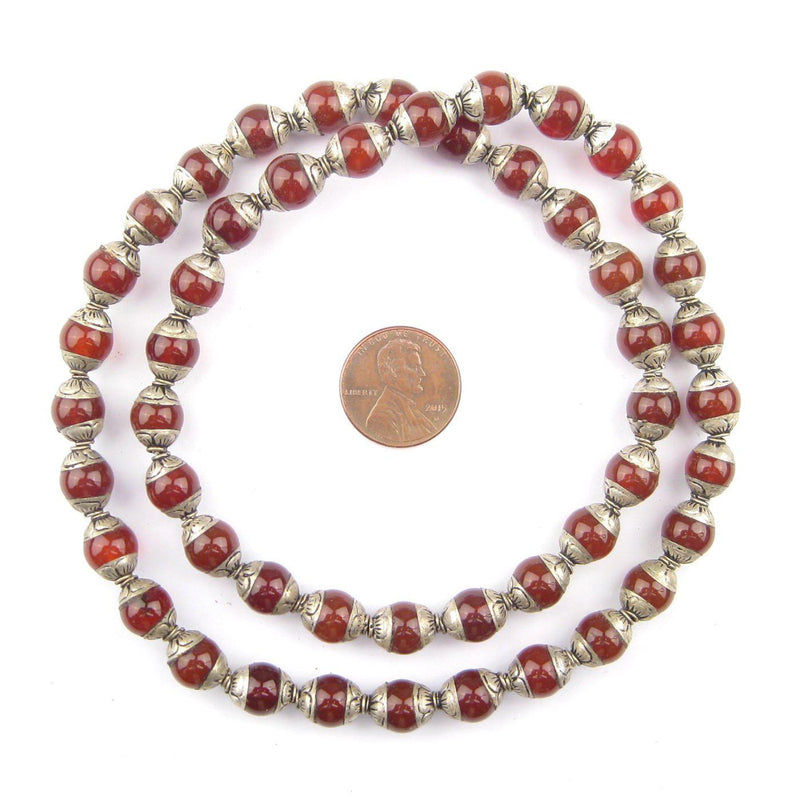 Carnelian Nepali Silver Capped Beads - The Bead Chest