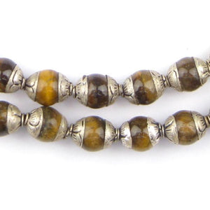 Tiger Eye Nepali Silver Capped Beads - The Bead Chest