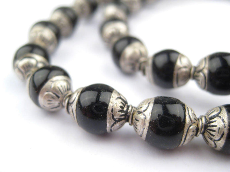Black Onyx Nepali Silver Capped Beads - The Bead Chest