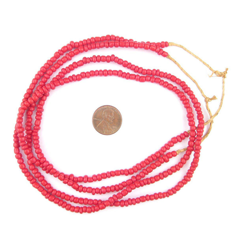 Crimson Red Ghana Glass Beads (2 Strands) - The Bead Chest