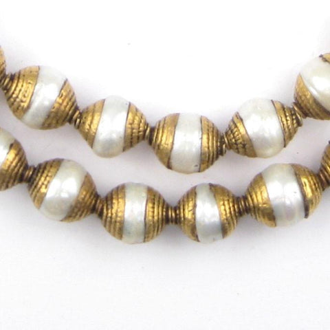 Pearl Nepali Brass Capped Beads - The Bead Chest