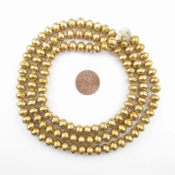 Pancake Round Ethiopian Brass Beads (8mm)
