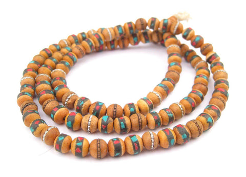 Inlaid Sandalwood Mala Beads (8mm) - The Bead Chest