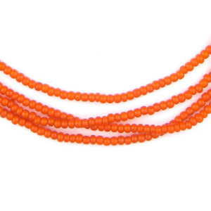 Tiny Orange White Heart Beads (2mm) - The Bead Chest