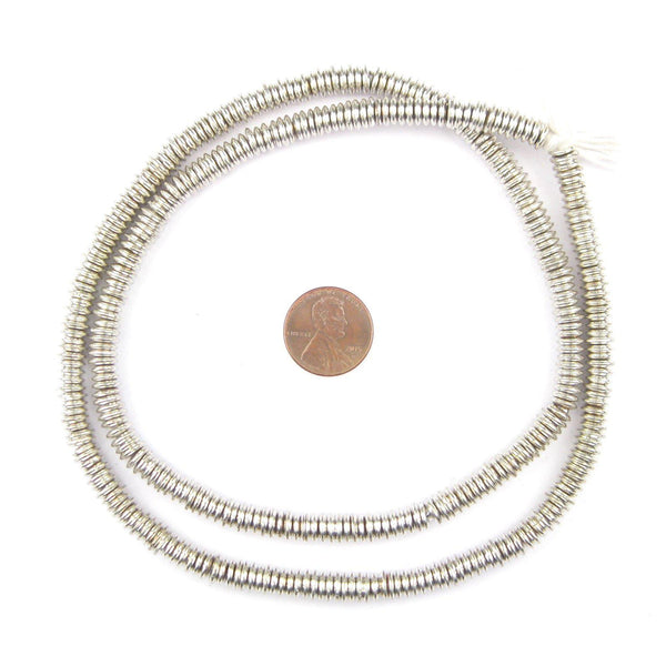 Smooth Extra Large Silver Heishi Beads (6mm)