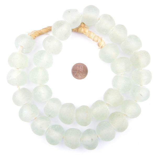 Jumbo Clear Recycled Glass Beads (24mm)