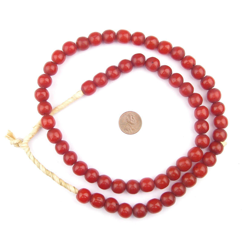 Cranberry Round Amber Resin Beads (12mm) - The Bead Chest