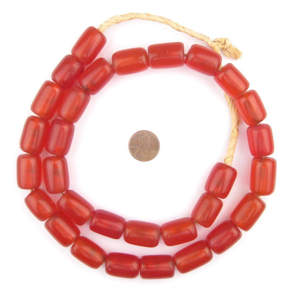 Cylindrical Mid-Red Amber Resin Beads (22x15mm)
