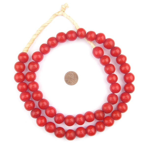 Red Round Amber Resin Beads (15mm)