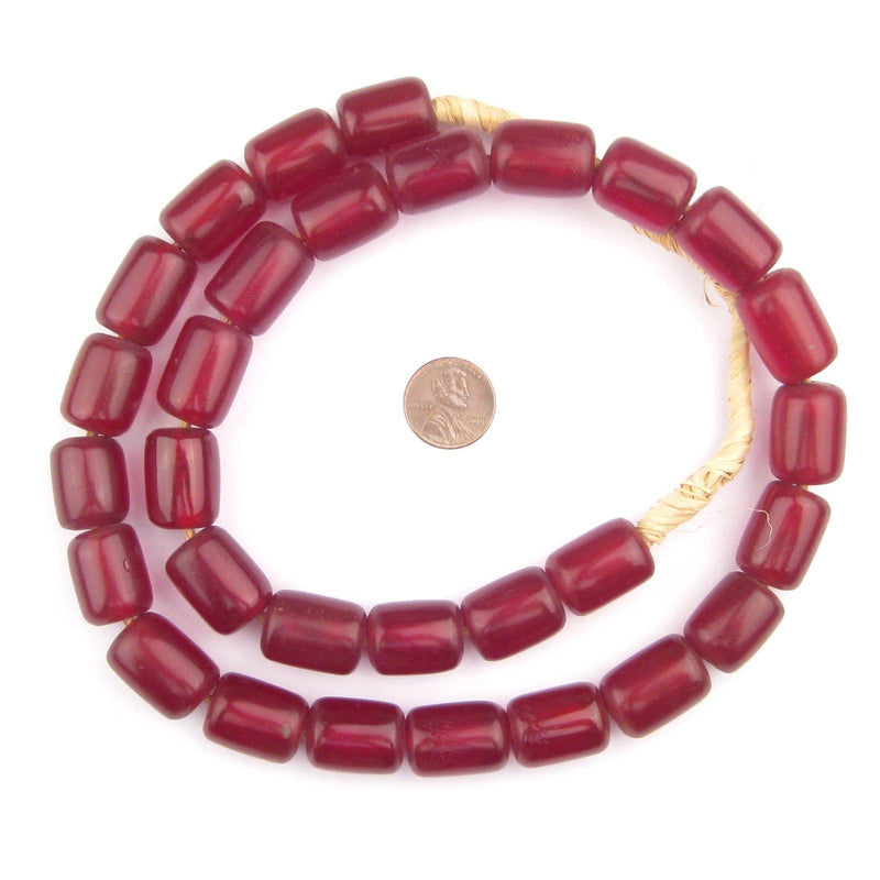Cylindrical Cherry Amber Resin Beads (20x15mm) - The Bead Chest