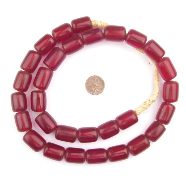 Cylindrical Cherry Amber Resin Beads (20x15mm)
