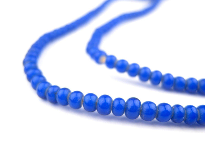 Navy Blue White Heart Beads (3mm) - The Bead Chest