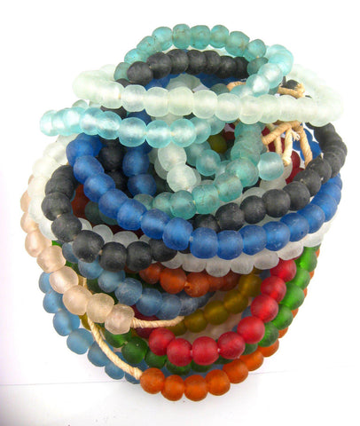 Image of 12 Strand Rainbow Bundle - Recycled Glass Beads (14mm) - The Bead Chest