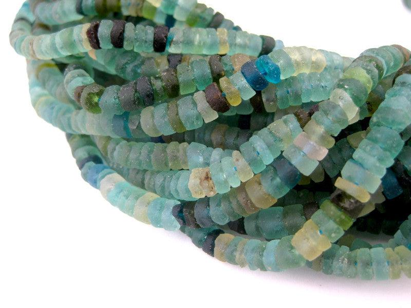 Roman Glass Cylinder Heishi Beads (5mm) - The Bead Chest
