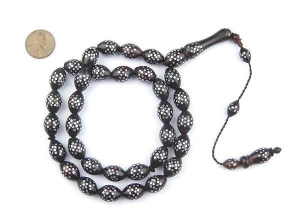 Silver Dotted Inlaid Arabian Prayer Beads