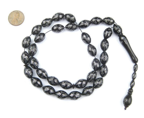 Diamond-Pattern Inlaid Arabian Prayer Beads