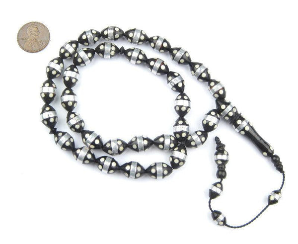 White Dotted Inlaid Arabian Prayer Beads