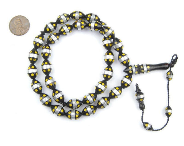 Yellow Dotted Inlaid Arabian Prayer Beads