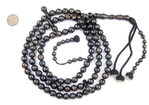 """99 Names of Allah"" Silver Inlaid Black Coral Arabian Prayer Beads - The Bead Chest"