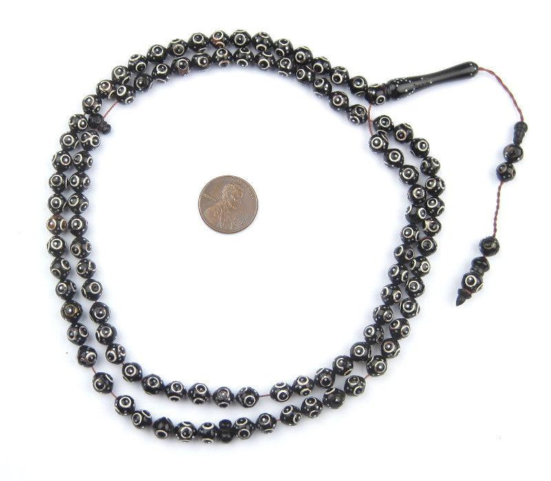 Silver Eye Inlaid Arabian Prayer Beads (6mm) - The Bead Chest