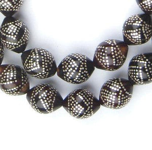 Premium Silver Inlaid Black Coral Arabian Prayer Beads - The Bead Chest