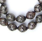 Premium Silver Inlaid Black Coral Arabian Prayer Beads