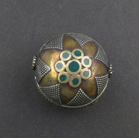 Inlaid Afghani Brass Bead Pendant (Round, Green) - The Bead Chest