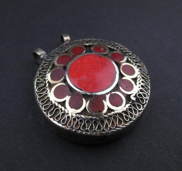 Coral Red Inlaid Afghani Silver Pendant