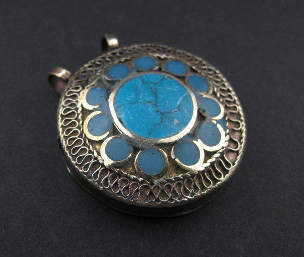 Turquoise Blue Inlaid Afghani Silver Pendant