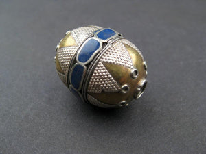 Inlaid Afghani Brass Bead Pendant (Oval, Blue) - The Bead Chest